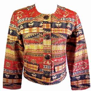 Chico's Tribal Design Silk Blend Jacket